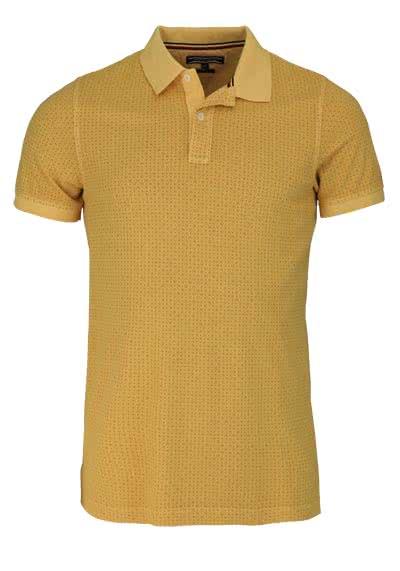 TOMMY HILFIGER Kurzarm Poloshirt geknöpfter Kragen Muster gelb - Hemden Meister