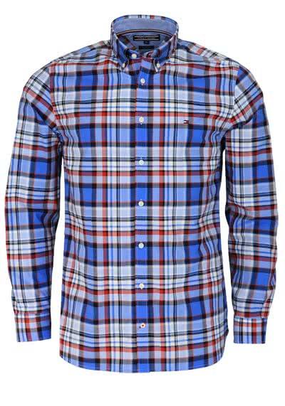 TOMMY HILFIGER Regular Fit Hemd Langarm Regular Fit Karo blau/rot - Hemden Meister