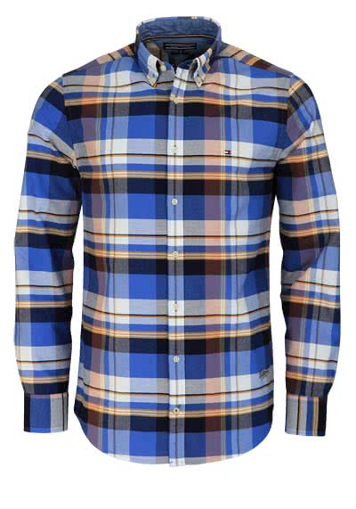 TOMMY HILFIGER Regular Fit Hemd Langarm Karo blau/weiß/orange - Hemden Meister