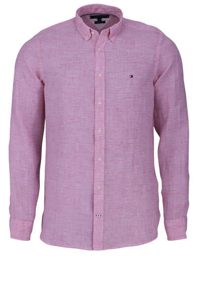 TOMMY HILFIGER Hemd Langarm Button Down Kragen Leinen rosa - Hemden Meister