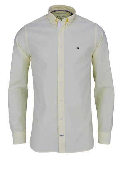 TOMMY HILFIGER Regular Fit Hemd Langarm Baumwolle geknöpft pastellgelb - Hemden Meister