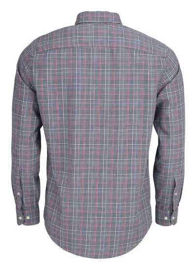 TOMMY HILFIGER Regular Fit Hemd Langarm Under-Button-Down Karo schwarz