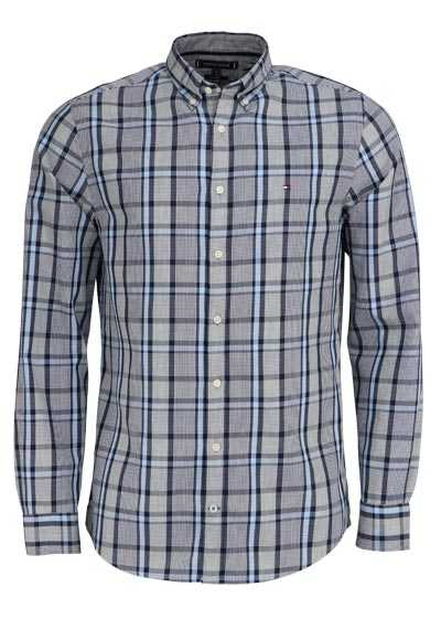 TOMMY HILFIGER Regular Fit Hemd Langarm Button Down Karo blau - Hemden Meister