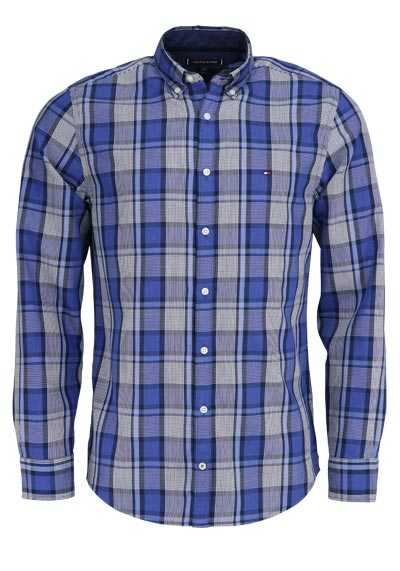 TOMMY HILFIGER Regular Fit Hemd Langarm Button Down Karo dunkelblau - Hemden Meister