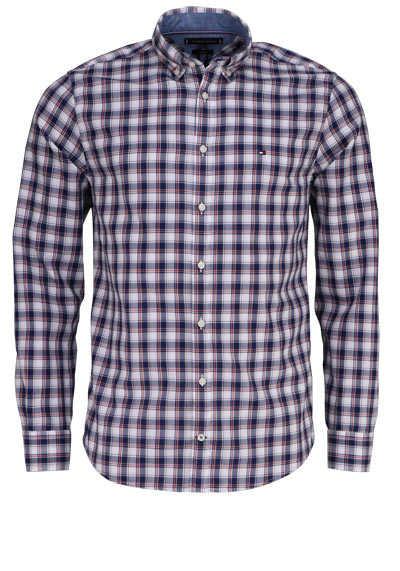 TOMMY HILFIGER Regular Fit Hemd Langarm Button Down Karo Kragen blau - Hemden Meister