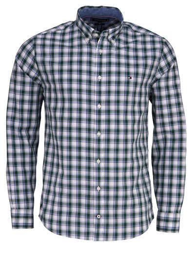 TOMMY HILFIGER Regular Fit Hemd Langarm Button Down Karo Kragen grün - Hemden Meister