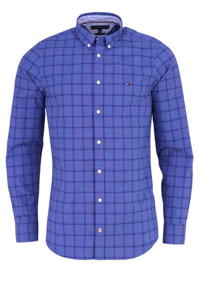 TOMMY HILFIGER Slim Fit Hemd WINDOWPANE Langarm Karo blau - Hemden Meister