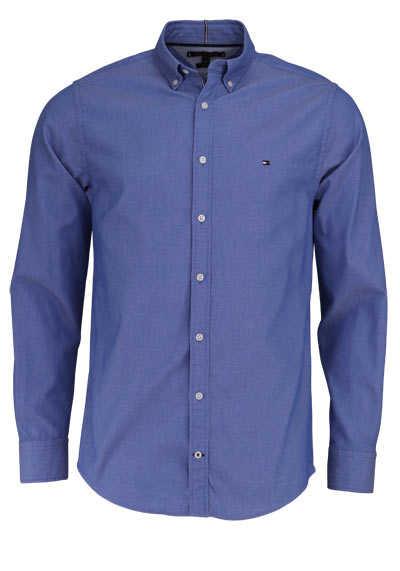 TOMMY HILFIGER Regular Fit Hemd DOBBY Langarm Button Down Kragen mittelblau - Hemden Meister
