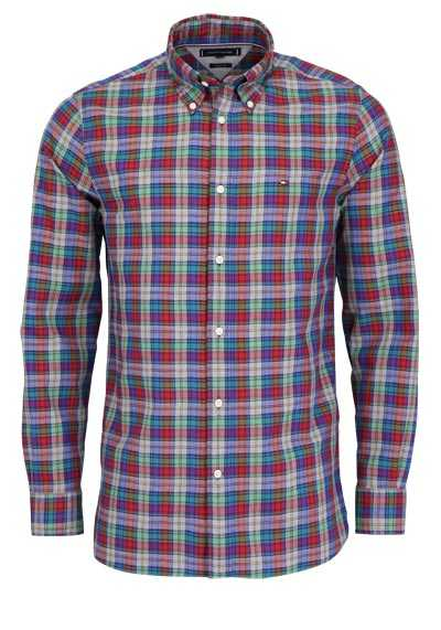TOMMY HILFIGER Regular Fit Hemd Langarm Button-Down-Kragen Karo rot - Hemden Meister