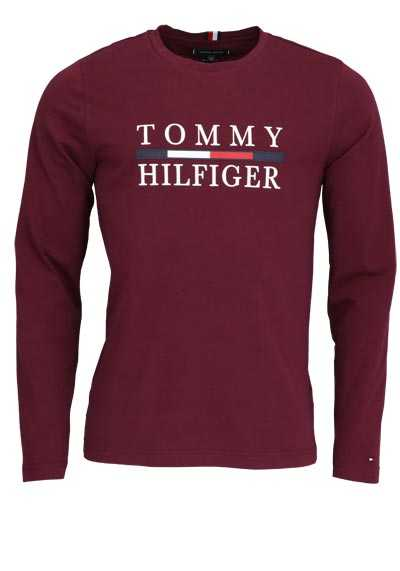 TOMMY HILFIGER Langarm Shirt Rundhals Schrift-Print weinrot - Hemden Meister