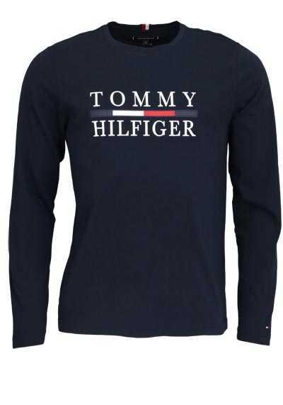 TOMMY HILFIGER Langarm Shirt Rundhals Schrift-Print navy - Hemden Meister