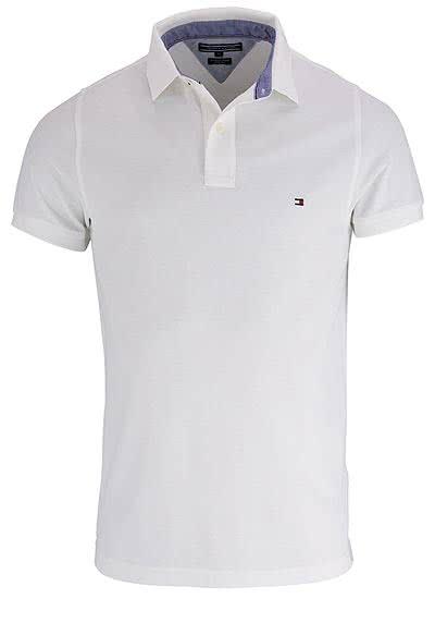TOMMY HILFIGER Performance Poloshirt Halbarm Slim Fit weiß - Hemden Meister