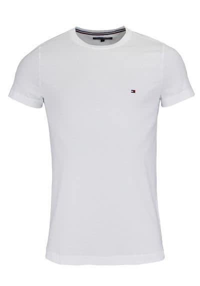 TOMMY HILFIGER Halbarm T-Shirt Rundhals Stretch weiß - Hemden Meister