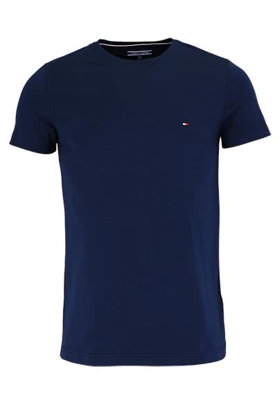 TOMMY HILFIGER Halbarm T-Shirt Rundhals Stretch dunkelblau - Hemden Meister