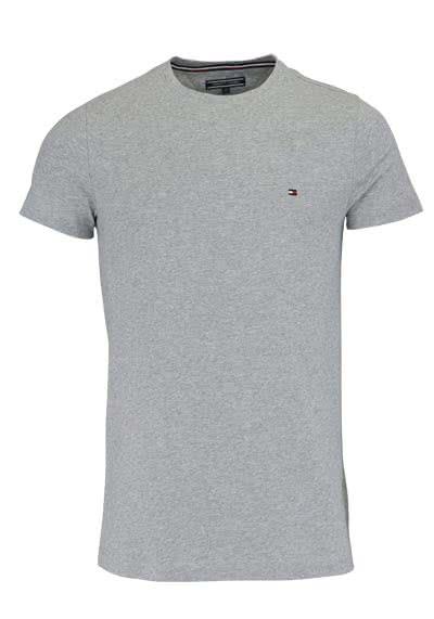TOMMY HILFIGER Halbarm T-Shirt Rundhals Stretch mittelgrau - Hemden Meister
