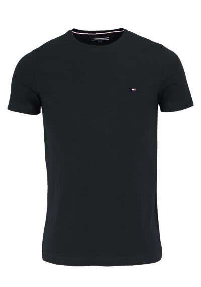 TOMMY HILFIGER Halbarm T-Shirt Rundhals Stretch schwarz - Hemden Meister