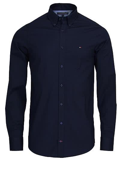 TOMMY HILFIGER Slim Fit Hemd Langarm Stretch Popeline nachtblau - Hemden Meister