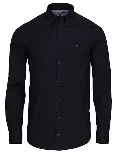 TOMMY HILFIGER Slim Fit Hemd Langarm Stretch Popeline schwarz - Hemden Meister