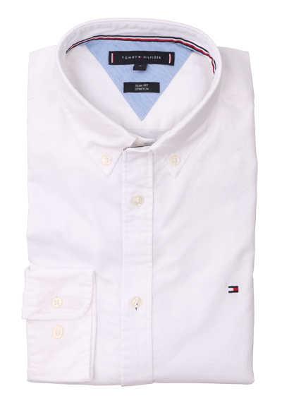 TOMMY HILFIGER Slim Fit Hemd Langarm Logo-Stick weiß - Hemden Meister