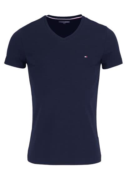 TOMMY HILFIGER Halbarm T-Shirt V-Ausschnitt Stretch dunkelblau - Hemden Meister