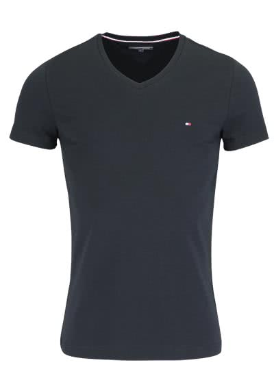 TOMMY HILFIGER Halbarm T-Shirt V-Ausschnitt Stretch schwarz - Hemden Meister