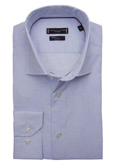 TOMMY TAILORED Slim Fit Hemd extra langer Arm Stretch Muster blau