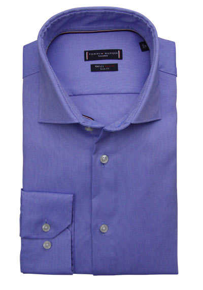 TOMMY TAILORED Slim Fit Hemd extra langer Arm Stretch Pinpoint blau