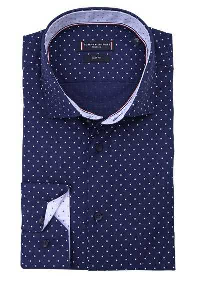 TOMMY TAILORED Slim Fit Hemd extra langer Arm Muster blau preisreduziert