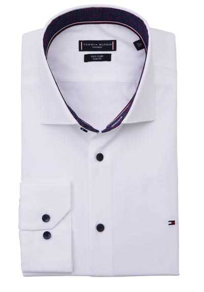 TOMMY TAILORED Slim Fit Hemd extra langer Arm Haifischkragen weiß