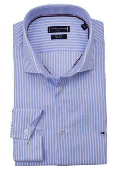 TOMMY TAILORED Slim Fit Hemd Langarm Streifen hellblau