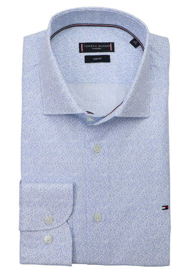 TOMMY TAILORED Slim Fit Hemd Langarm Haifischkragen Muster hellblau
