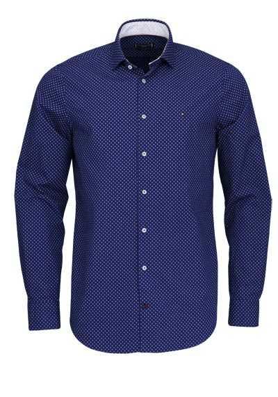 TOMMY TAILORED Slim Fit Hemd Langarm Muster dunkelblau - Hemden Meister