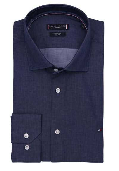 TOMMY TAILORED Slim Fit Hemd Langarm Haifischkragen Twill navy