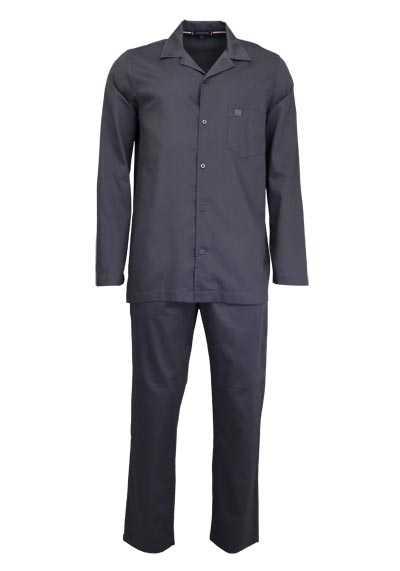 TOMMY HILFIGER Langarm Pyjama Hemdkragen Gummibund graphit - Hemden Meister