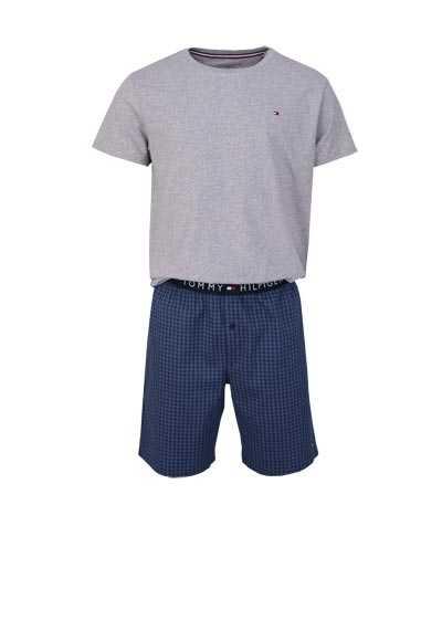 TOMMY HILFIGER Halbarm Pyjama Rundhals Gummibund hellgrau/rauchblau - Hemden Meister