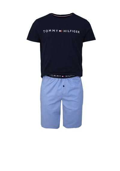 TOMMY HILFIGER Halbarm Pyjama Rundhals Gummibund navy - Hemden Meister