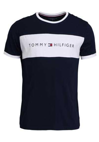 TOMMY HILFIGER Halbarm T-Shirt Rundhals Baumwolle navy - Hemden Meister