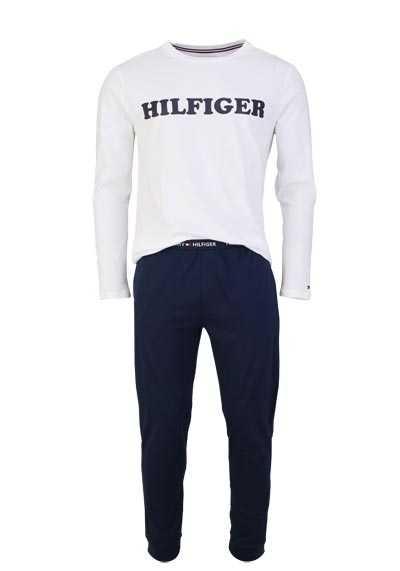 TOMMY HILFIGER Pyjama Runhals Langarm Gummibund Uni weiß - Hemden Meister