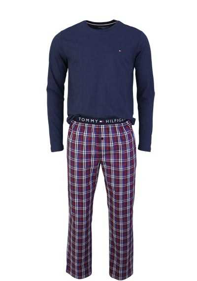 TOMMY HILFIGER Langarm Pyjama Rundhals Gummibund navy - Hemden Meister
