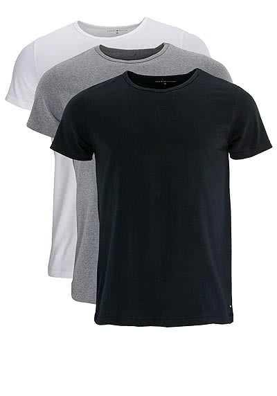 TOMMY HILFIGER Halbarm T-Shirt Stretch 3er Pack weiß/schwarz/grau - Hemden Meister