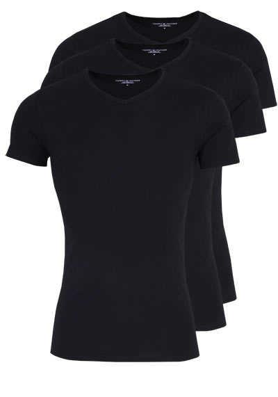 TOMMY HILFIGER Halbarm T-Shirt V-Ausschnitt Stretch 3er Pack schwarz - Hemden Meister