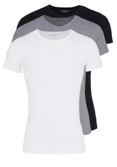 TOMMY HILFIGER Halbarm T-Shirt Stretch 3er Pack weiß/grau/schwarz - Hemden Meister
