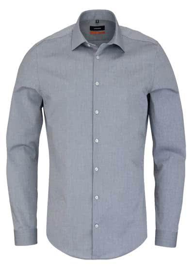 SEIDENSTICKER Slim Hemd Langarm New Kent Kragen Stretch mittelgrau - Hemden Meister