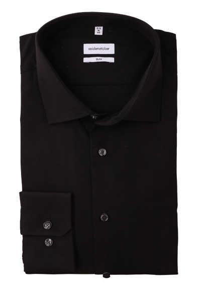 SEIDENSTICKER Slim Hemd Langarm New Kent Kragen Stretch schwarz - Hemden Meister
