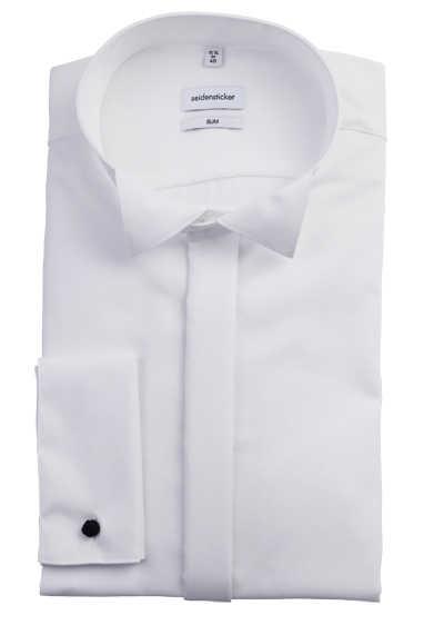 SEIDENSTICKER Slim Galahemd Langarm ohne Manschettenknopf weiß - Hemden Meister