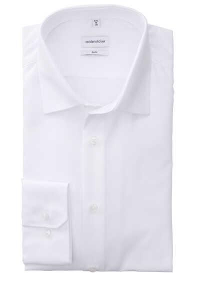 SEIDENSTICKER Slim Hemd Langarm Haifischkragen Fil a Fil Stretch weiß - Hemden Meister