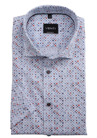 VENTI Modern Fit Businesshemd Halbarm Under-Button-Down Kragen Punkte blau