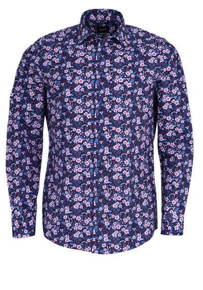 VENTI Modern Fit Hemd super langer Arm Muster dunkelblau - Hemden Meister