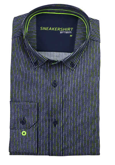 VENTI Modern Fit Hemd Langarm Sneakershirt Stretch Streifen blau
