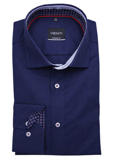 VENTI Modern Fit Hemd super langer Arm New Kent Kragen navy